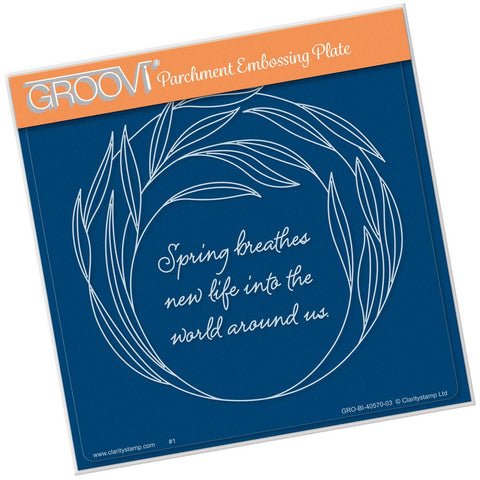Willowy Wreath <br/>A5 Square Groovi Plate <br/>(Set GRO-40570-03)