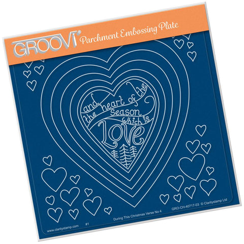 During this Christmas Verse No. 4 - Heart <br/>A5 Square Groovi Plate <br/>(Set GRO-CH-40724-03)
