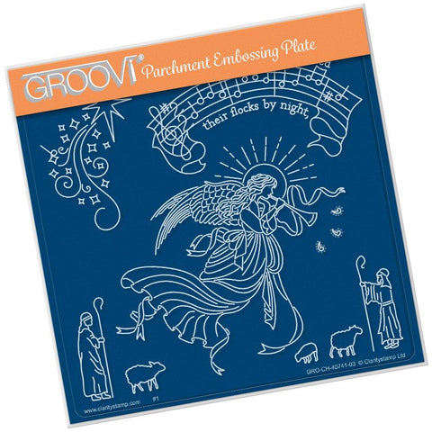 While Shepherds Watched <br>A5 Square Groovi Plate <br/>(Set GRO-CH-40799-03)