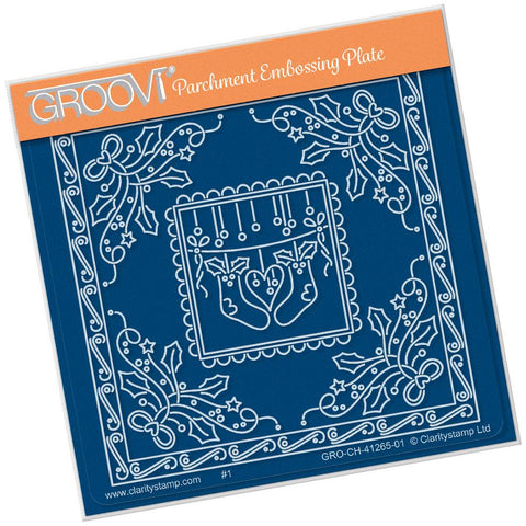 Tina's Christmas Stockings Parchlet <br/>A6 Square Groovi Baby Plate