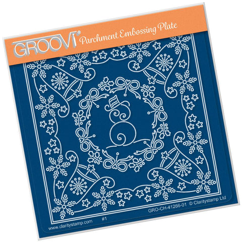 Tina's Christmas Snowman Parchlet <br/>A6 Square Groovi Baby Plate