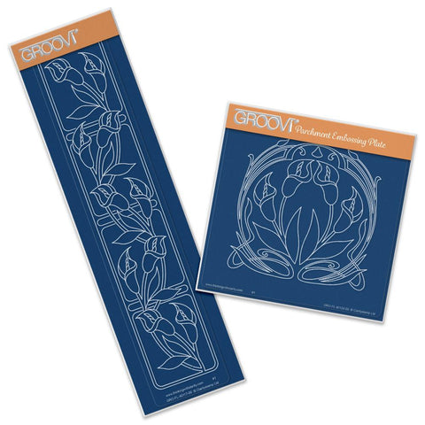 Art Nouveau Lilies A5 Square & Groovi Border Plate Set