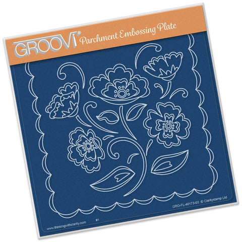 Lace Flowers <br/>A5 Square Groovi Plate <br/>(Set GRO-FL-40205-03)