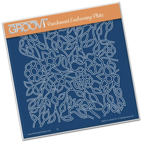 Flower Tangle <br/>A5 Square Groovi Plate <br/>(Set GRO-FL-30353-03)