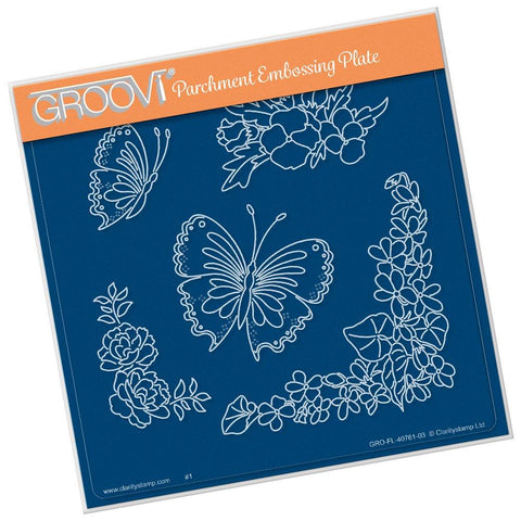 Frilly Square Friends <br/>A5 Square Groovi Plate <br/>(Set GRO-FL-40805-03)