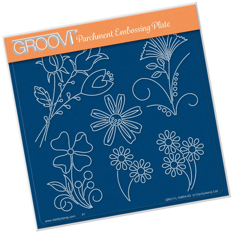 Tina's Flower Fun <br/>A5 Square Groovi Plate <br/>(Set GRO-FL-41016-03)