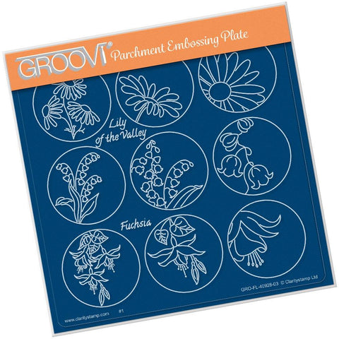Linda's 123 Flowers - A <br/>Daisy, Lily of the Valley & Fuchsia <br/>A5 Square Groovi Plate <br/>(Set GRO-FL-40941-03)
