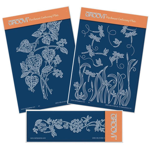 Chinese Lantern Floral Spray & Dragonflies A6 Groovi Plate Set + Spacer