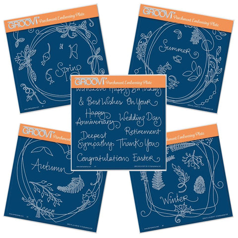 Entwined Wreath & Sentiments Collection <br/>A5 Square Groovi Plate Set