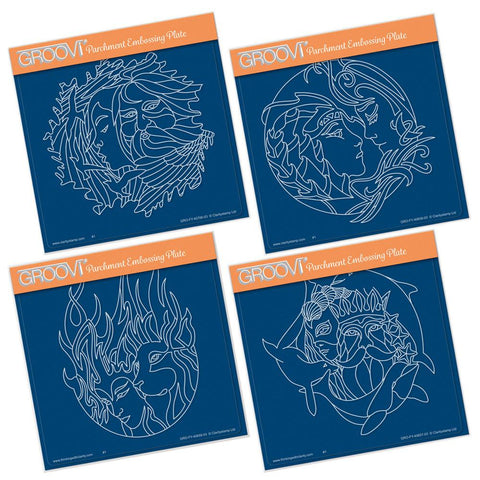 Air, Earth, Fire & Water Elements A5 Square Groovi Plate Set