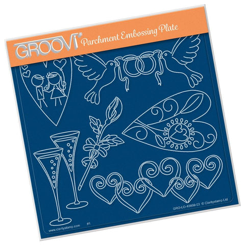 Tina's Doodle Dove Hearts <br/>A5 Square Groovi Plate <br/>(Set GRO-LO-40894-XX)