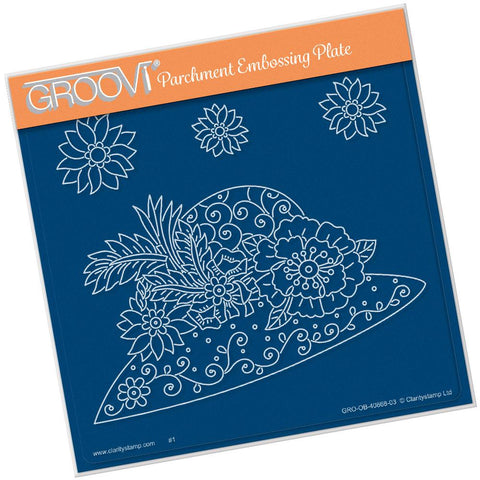 Maria Maidment's Floral Hat <br/>A5 Square Groovi Plate <br/>(Set GRO-OB-40966-03)