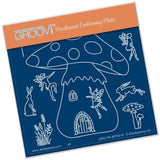 Toadstool Outline <br/>A6 Square Groovi Baby Plate <br/>(Set GRO-TR-40822-01)