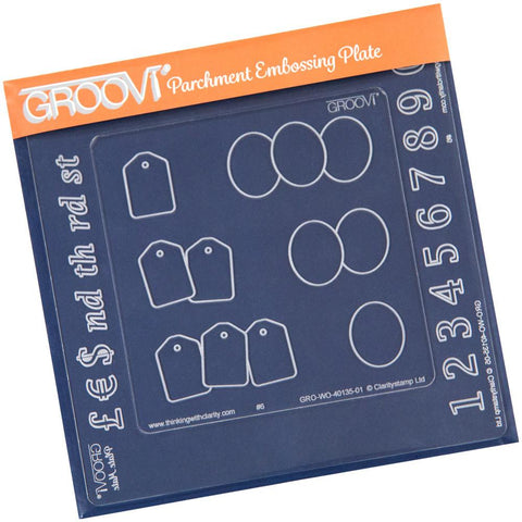 Numbers, Ovals & Tags <br/>A6 Square Groovi Plate Inset