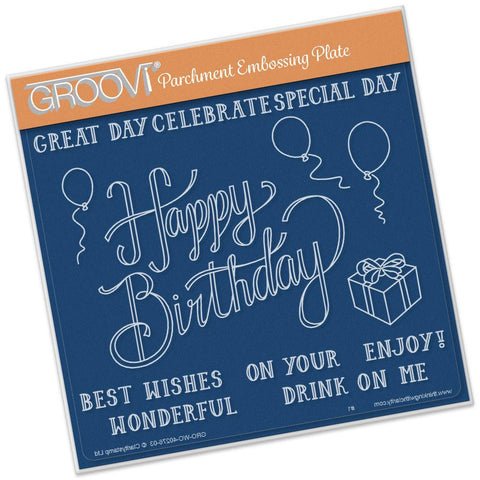 Happy Birthday <br/>A5 Square Groovi Plate <br/>(Set GRO-WO-40283-03)