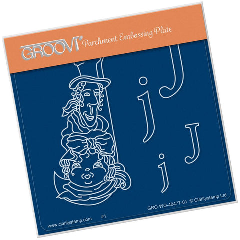 Nursery Rhyme 'J' <br/>A6 Square Groovi Baby Plate <br/>(Set GRO-WO-40653-01)