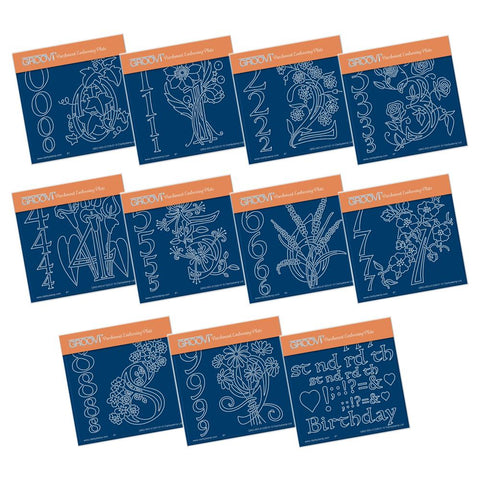 Floral Numbers Collection <br/>A6 Square Groovi Plate Set <br/>+ Groovi Baby Folder!