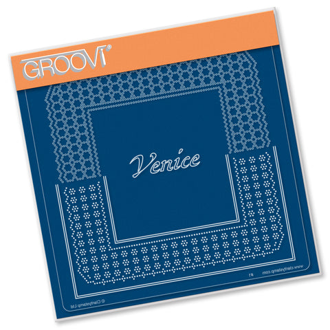 Italian Cities Diagonal Lace Grid Duets - Venice A5 Square Groovi Plate