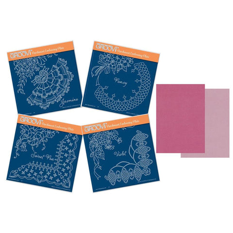 Linda's Summer Flowers & Lace Quartet <br/>A5 Square Groovi Plate Set <br/>+ Pink Two Tone A5 Parchment x20