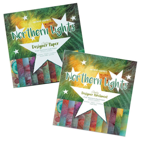 "Northern Lights Duet <br/>Designer Paper & Parchment Packs 8"" x 8"""
