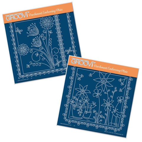 Tina's Primrose & Alliums and Sunflowers & Birds <br/>A5 Square Groovi Plate Set