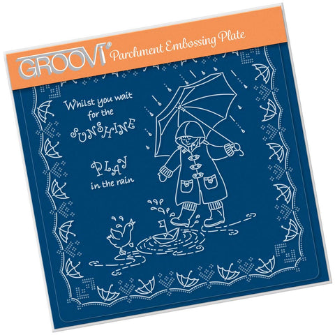 Linda's Children - Spring - Play in the Rain - A5 Square Groovi Plate