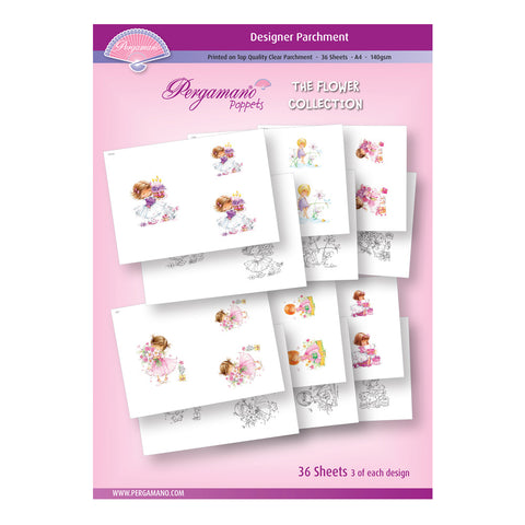 A4 Parchment Poppets - Flower Collection - Artwork by Marina Fedotova