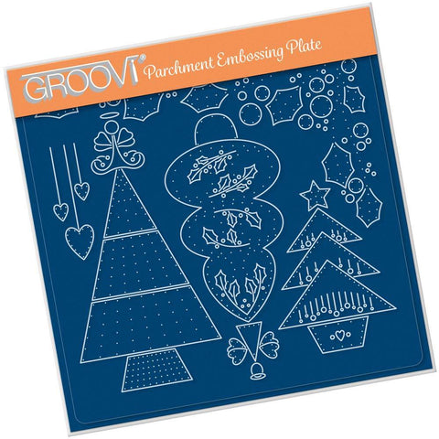 Tina's Embroidery Christmas Trees <br/>A5 Square Groovi Plate