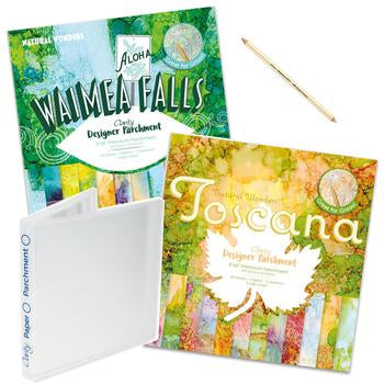Waimea Falls & Toscana Designer Parchment Bundle <br/>+ Storage Folder & Eraser Pencil