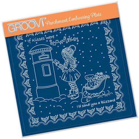 Linda's Children - Winter - Girl at Postbox - A5 Square Groovi Plate