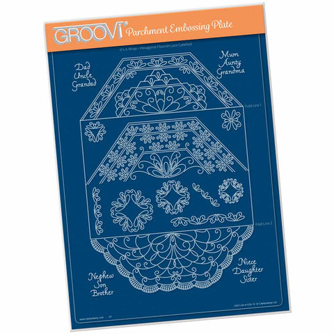 Linda's It's A Wrap! - Hexagonal Flourish Lace Gatefold A4 Groovi Plate