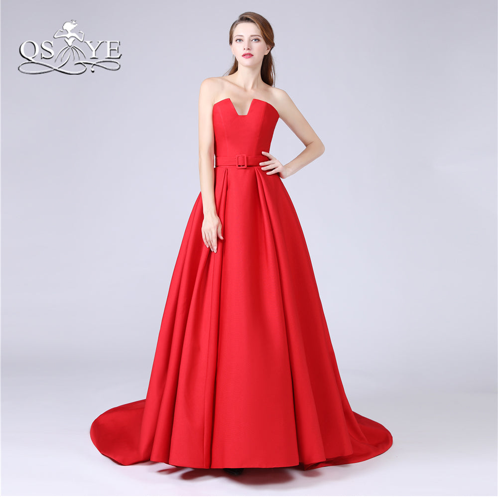 Prom Dresses 2018 New Red Long Prom Dresses with Pockets Strapless Flo