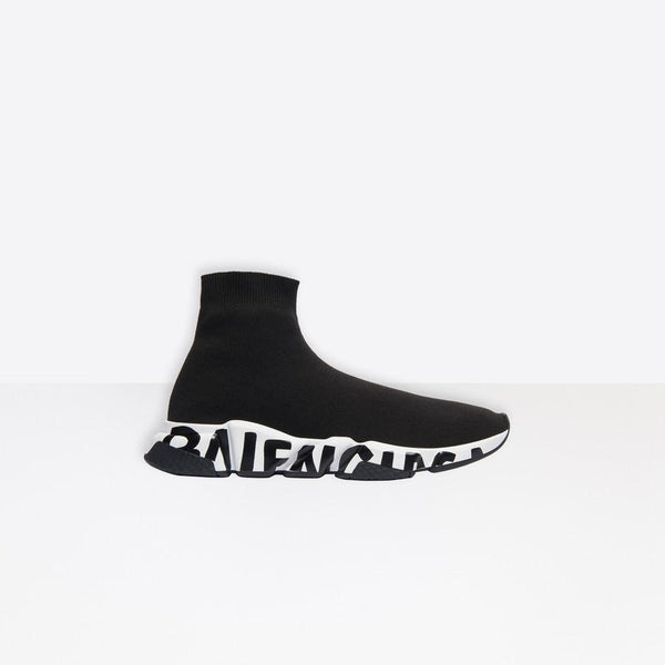 "Balenciaga Speed Trainers ""Black/White"" with Black Word"