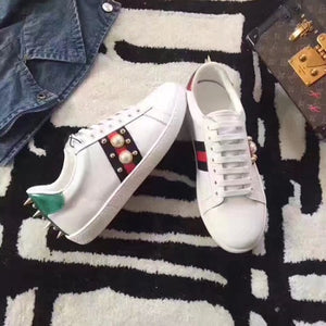 ad6b11185e1 Gucci Ace Pearl Studded Leather Low-Top Sneaker  White  – FootWork