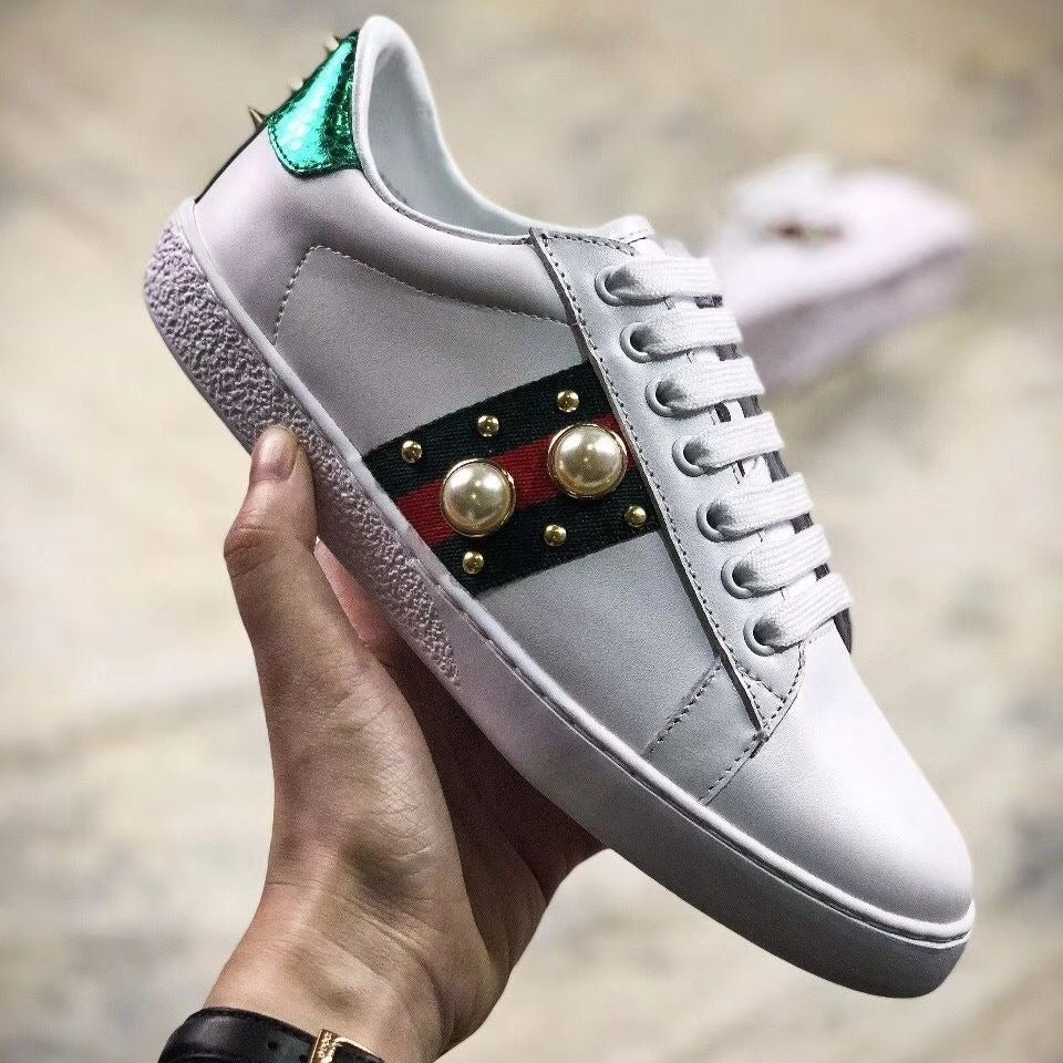 9b9f42748a8 Gucci Ace Pearl Studded Leather Low-Top Sneaker  White