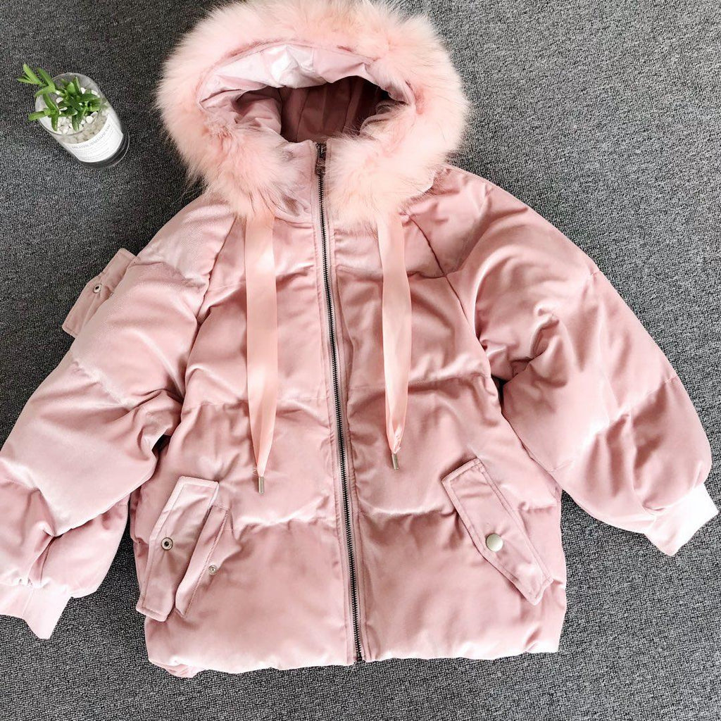 2018 Korea Style Casual Fur Hoodie Down Jacket