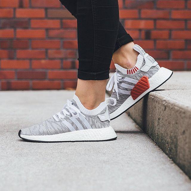 51dfe17ebec9 Adidas NMD R2 Primeknit  Running White   Red  – FootWork