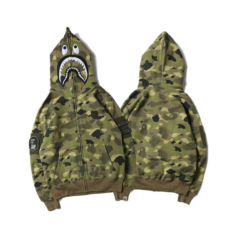 A Bathing Ape x Undefeated Camo Shark Full Zip Jacket