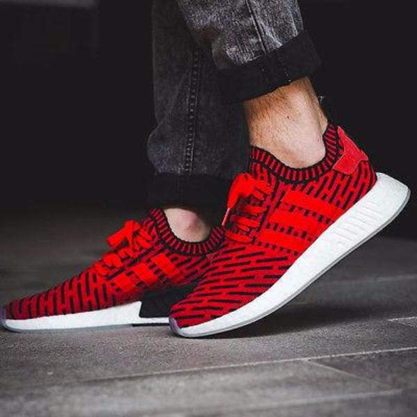 3516a335b3f3f Adidas NMD R2 Primeknit  Core Red   Running White Ftw  – FootWork