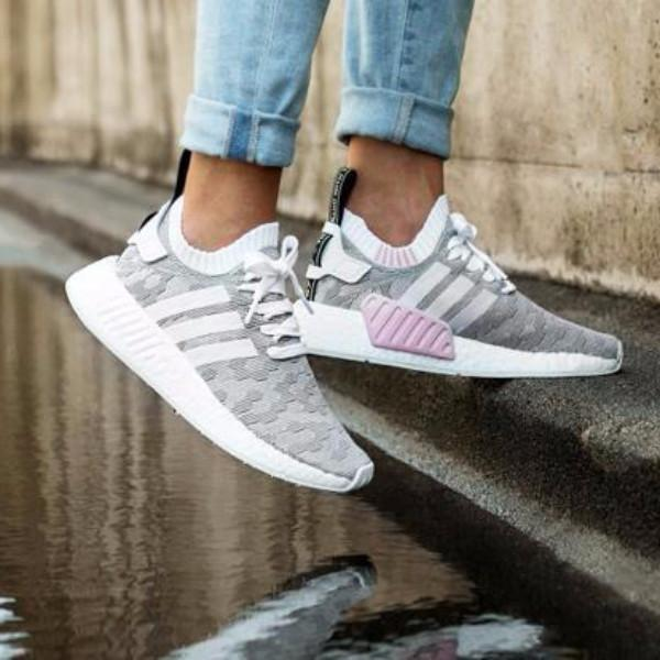 new style dfd49 6a227 Adidas NMD R2 Primeknit   Running White   Pink
