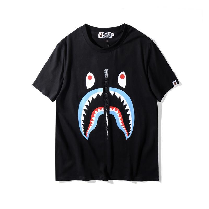 A Bathing Ape Shark with Zip design Tee Blue
