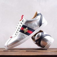 Gucci Silver Bee Ace Leather Sneaker