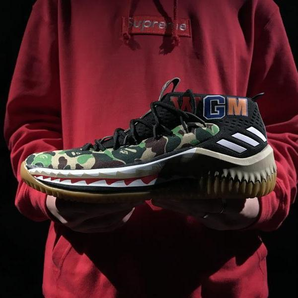 buy popular 2d289 4132c A Bathing Ape x adidas Dame 4 Camo