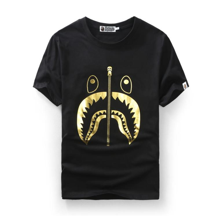 A Bathing Ape Shark with Zip design Tee Gold