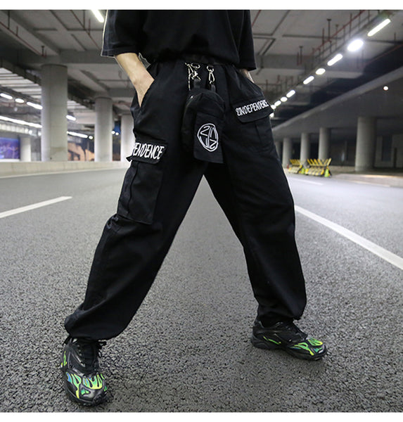 INS multi-pocket straight loose pants
