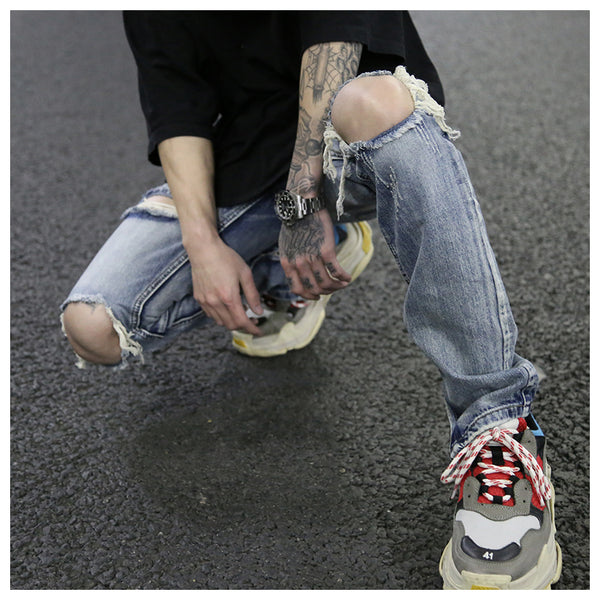 FEAR OF GOD 2017 fashion high street mens destroyed jeans