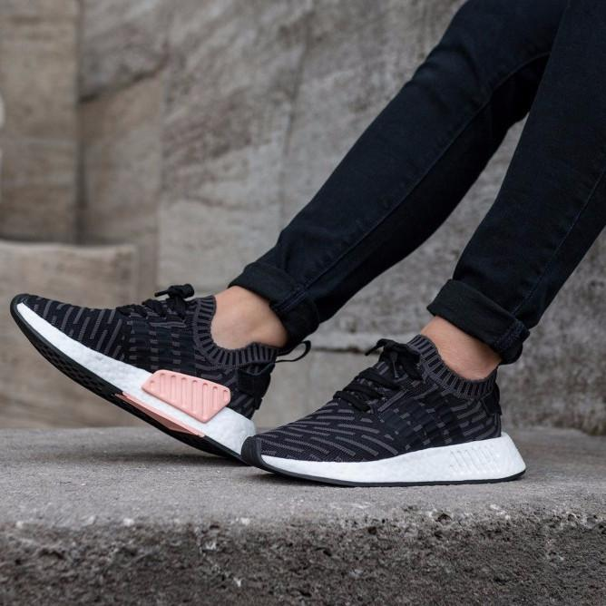 "low priced 86e20 6f927 Adidas NMD R2 Primeknit ""Utility Black   Pink"