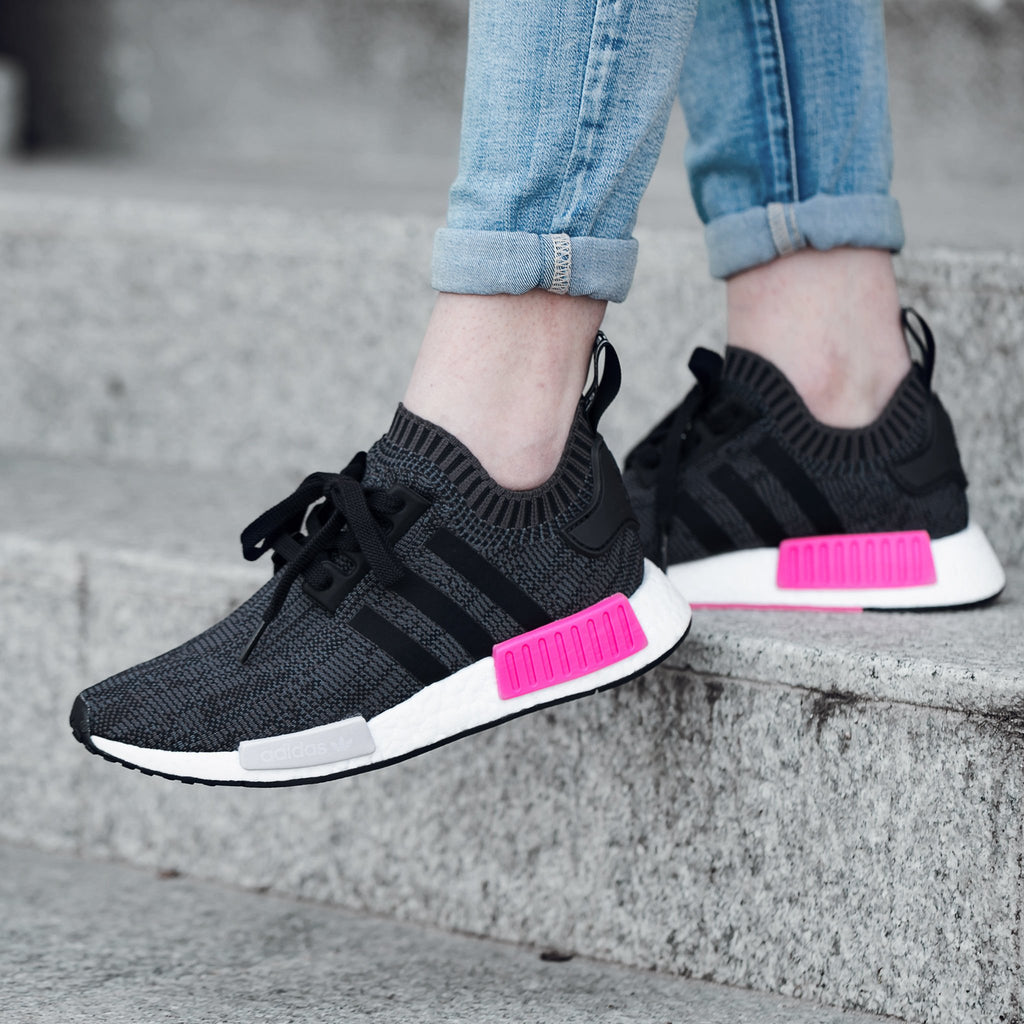 5b6b4710cce7b Adidas NMD R1 W PK  Core Black Shock Pink  – FootWork