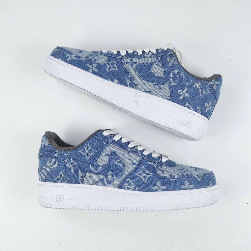 Nike Air Force 1 Supreme x Louis Vuitton Denim Custom