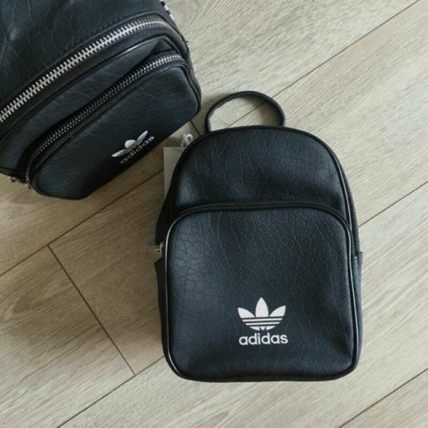 Adidas Originals Leather Look Mini Backpack In Black